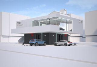 В Audi анонсировали скоростную зарядную станцию мощностью 300 кВт, суммарной емкостью 2,45 МВт/ч