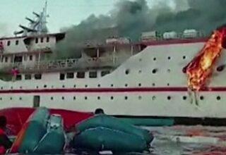 Индонезийский паром KM Karya Indah охватило пламя спустя 15 минут после отправления рейса: видео